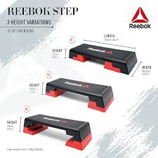 reebok step. sturdy and durable for every lunge jump, the reebok step\u0027s non-slip rubber surface means user can focus on their form positioning, step