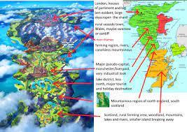 My Interpretation of the Pokemon Sword and Shield Map (from UK): pokemon