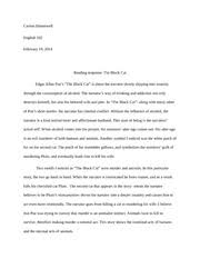 essay draft carson hunnewell english mw professor 1 pages the black cat reading response
