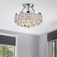 rectangular drum shade chandelier unique antonia 4 light crystal semi flush mount chandelier with chrome
