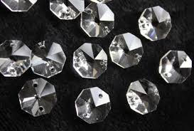 20mm 2 hole 30pcs clear octagon crystal glass chandelier lamp part replace beads