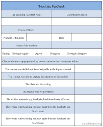Teaching Feedback Form : Sample Forms