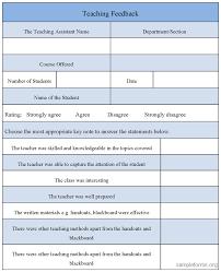 Teaching Feedback Form : Sample Forms