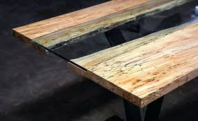 wood and glass dining table live edge dining table wood frame glass top dining table