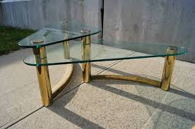 double brass and glass coffee table by pace collection for 3