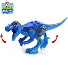 qiaoletong blue tyrannosaurus rex emble blocks dinosaurs juric figures building bricks kids toys birthday gifts legoings