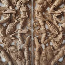 carved wall art panel asian wall hanging reclaim  on tiki wood wall art with buy pair of wooden wall art panel from thailand online