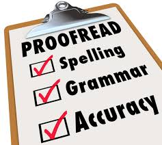 professional editing services speak language center proof checklist and checked boxes next to the words spelling grammar and accuracy as the