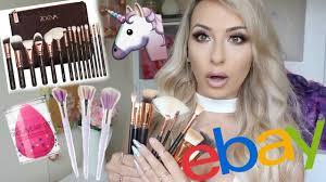 testing fake ebay makeup brushes and beauty blender unicorn brushes and 15 brush set dramaticmac