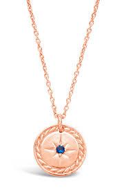 image of sterling forever 14k rose gold plated vermeil cz burst disc pendant necklace