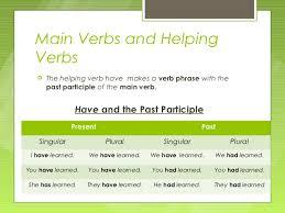 Verbs   Main Verbs and Helping