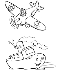Preschool Coloring Pages Transportation Airplane | Transportation ...