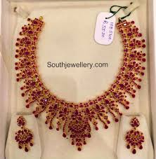 Broad Chain Designs 22 Carat Gold Broad And Intricate Ruby Necklace And Matching
