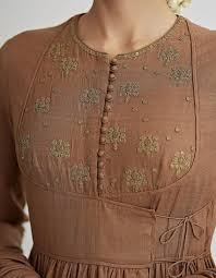 Galy K Design 2018 Kaahi Brown Hand Embroidered Angrakha Set Kurta Neck