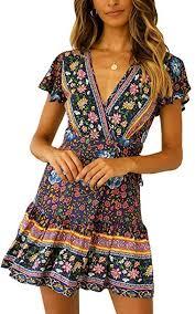 ECOWISH Women's Summer V Neck <b>Bohemian</b> Floral Print Ruffle ...