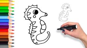 Small Picture How to Draw a Sea Horse Teach Drawing for Kids and Toddlers