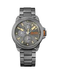 hugo boss mens watches gifts jewellery very co uk hugo boss hugo boss new york grey matte sunray dial chronograph knurling centre link bracelet mens watch