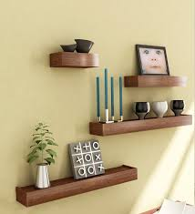 Furniture. three square brown Wood Wall Shelves on cream wall. Magnetizing  Idea Of Decorative