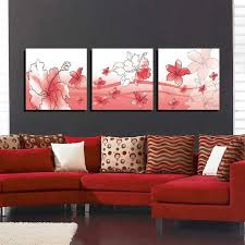frames for living room. bizhen flowers painting canvas wall art picture - red (3pcs) frames for living room