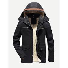 men fleece lined hooded coat
