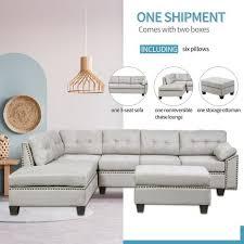 8 piece grey sectional fabric sofa set