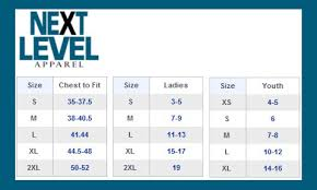 Next Level Kids Size Chart Next Level Shirt Size Chart Best Picture Of Chart Anyimage Org