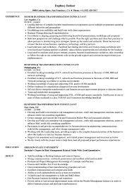 Business Transformation Consultant Resume Samples Velvet Jobs