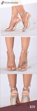 NWT Nude Glass slippers Fashion nova glass heels this are.