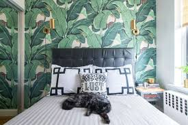 Stylish Bedroom With Brass Wall Sconces And Removable Wallpaper : Stylish  Removable Interior Wallpaper
