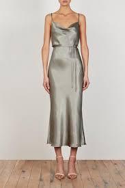 La Lune Bias Cowl Midi Dress Sage