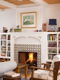 country living room photo in other with a tile fireplace