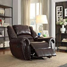 merida nailhead accent bonded leather recliner in chocolate amazing home depot office chairs 4 modern