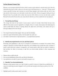 Perfect Resume Format For Freshers Resume Format For Fresher