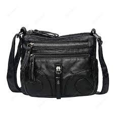 vintage soft leather handbags casual women shoulder messenger bags black