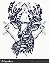 олень тату футболку дизайн рождество оленей символ зимы новый год