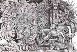 aztec warrior and princess black and white. Modren White Mexican Aztec Art  Dream By Mouse Lopez Indians Black White  Canvas To Warrior And Princess