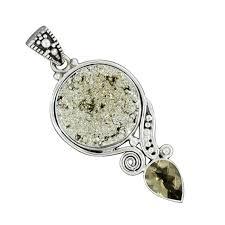 golden pyrite bear quartz gemstone pendant 925 sterling silver pendant jewelry