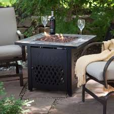 new gas slate fire pit square outdoor fireplace steel propane patio with cover