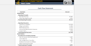 Cash Flow Statement Template Free Accounting Template