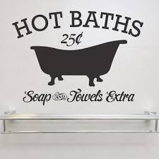 hot baths soap and towels extra removable vinyl wall art vintage sign bath house bathroom bathtub on vintage bath wall art with hot baths soap and towels extra removable vinyl wall art vintage