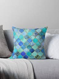cobalt blue throw pillows. Brilliant Blue Cobalt Blue Aqua U0026 Gold Decorative Moroccan Tile Pattern By Micklyn And Blue Throw Pillows R