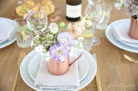 Beautiful Mother's Day brunch table setting idea with diy flower  arrangements that double as take home