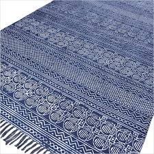 blue cotton block print accent area boho dhurrie rug flat weave hand woven 3 x 5 4 x 6 ft