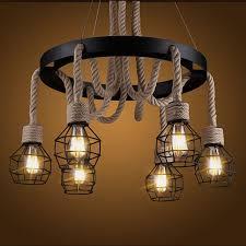 details about vintage loft hemp rope pendant lights 6 heads edison ceiling lamp fixtures pl673