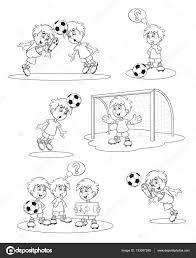 Vettore Portiere Calcio Stilizzato Impostare I Giocatori Di Calcio