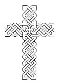 Cross Coloring Sheet With Stained Glass Cross Printable Coloring