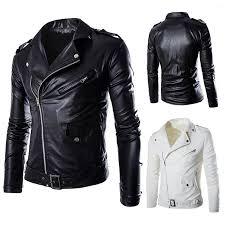 men s classic style black genuine cowhide leather motorcycle biker jacket coat