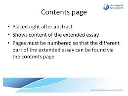 extended essay in psychology new program starting ppt download contents page placed right after abstract shows content of the extended essay pages must be numbered