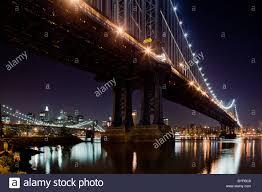 Brooklyn Bridge Lights Usa New York Brooklyn Brooklyn Bridge And Glowing Lights