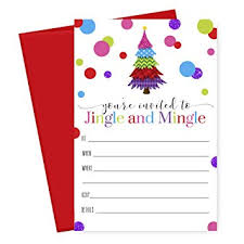 Amazon Com Jingle And Mingle Christmas Party Invitations With Red